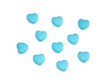 10 acrylic beads 10mm blue colored heart shaped