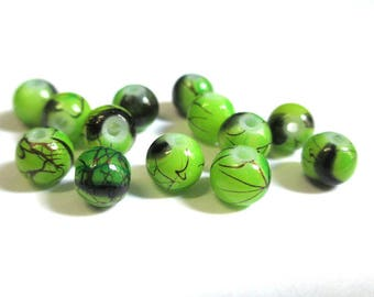 20 green beads, Brown painted glass 6mm (2)