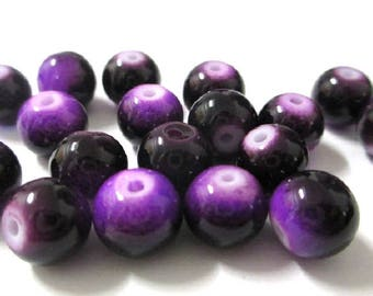 10 two-tone purple and black glass beads 8mm