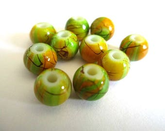 10 pearls green orange, Brown painted glass 8mm (A-09)