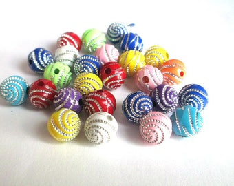 lot 100 Acrylic beads 8mm silver color line pattern mix