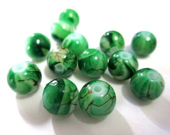 10 Brown, dark green painted glass 8mm beads