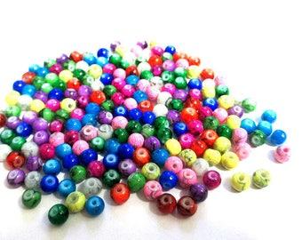 200 beads 4mm black speckled color mix