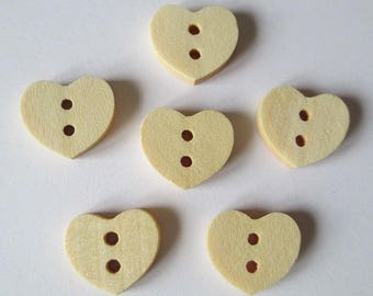 6 13x15mm natural heart pattern 2-hole wooden buttons