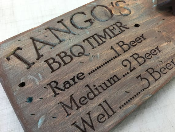 Personalized Engraved Rustic BBQ Timer Beer Bottle Opener