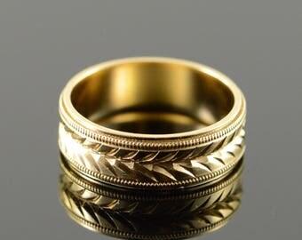 14k Cut Arrow Motif 5.9mm Wedding Band Ring Gold