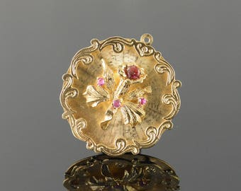 14k 1960's Ruby Accented Flower Stunning Vintage Charm/Pendant Gold