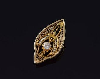 14k Victorian 0.23 CT Diamond Seed Pearl Filigree Pin/Brooch Gold