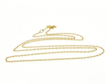 """14k 1.0mm Cable Link Rolling Chain Necklace Gold 18.25"""""""