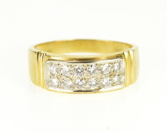 18k 0.36 Ctw Diamond Pave Encrusted Squared Band Ring Gold