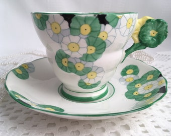 Radfords Bone China, Fenton Tea Cup and Saucer, Cotswold, Double Flower Handle, Green and Yellow Floral, 1928-37, Rare