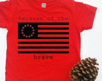 """Infant & toddler """"because of the brave"""" red crew tee"""