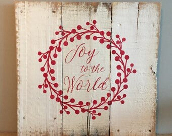 Rustic Reclaimed Wood Sign - Joy to the World with Berry Wreath - 16x16
