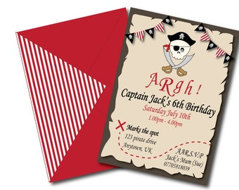 Children's Birthday Party Invite Invitation Pirate 1st 2nd 3rd 4th 5th 6th 7th boy Printable PDF Download Customisable