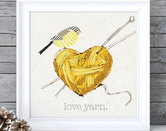 Mustard Yellow Decor, Mustard Yellow Art, Mustard Wall Art, Knitting Print, Knitting Wall Art, Ochre Wall Art, Ochre Picture, Retro Wall Art