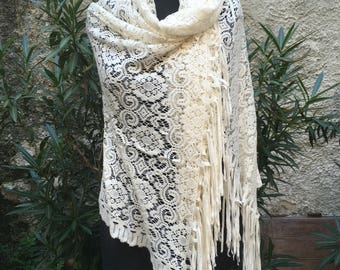 Vintage of the years ' 60 white lace stole