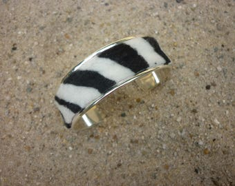 Metal bracelet with zebra black and white print soft fabric bangle cuff silver colored base