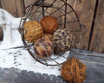 Primitive Rag Balls, Rag Balls, Primitive Country Decor, Fabric Bowl Fillers, Calico Rag Ball, Fall Bowl Fillers, Fabric Balls, Rustic Brown