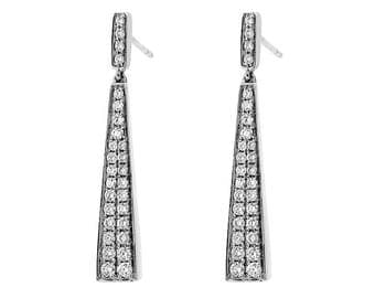 Long Triangular Drop Earrings with Diamonds in 18k White Gold