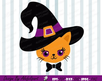 Halloween witch  ginger cat SVG DXF Halloween Silhouette & Cricut Cut Files Personal and Commercial Use
