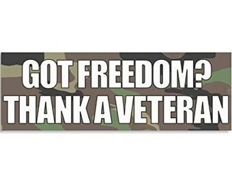 CAMO Got Freedom Thank a Veteran (Vet) Bumper Sticker