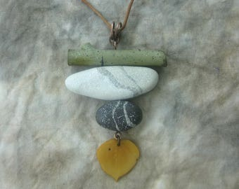 Aspen twig, leaf and stones pendant, polymer clay