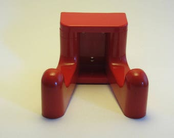 Mid Century Modern red ABS/plastic Wall Rack with two Movable Hooks - Made in the 1980s