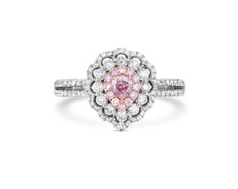 Pink Diamond Ring, Diamond Engagement Ring, 18K white gold Ring, PearShape cut Engagement Ring, Halo Diamond Ring, Pink Halo Diamond Ring