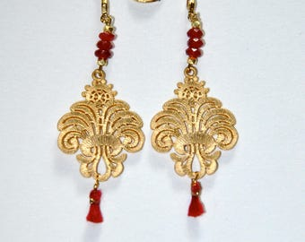 Ruby gold-plated palm earrings