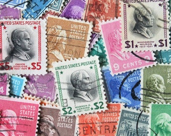 FREE SHIPPING ; 32 U.S. 1938 used classic postage stamps Presidential Series Scott 803 - 834, PREXIES - complete set us postage stamps.