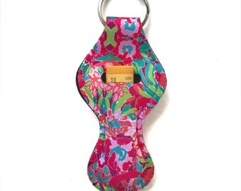 Lilly Pulitzer Flamingo Chapstick Keychain Holder
