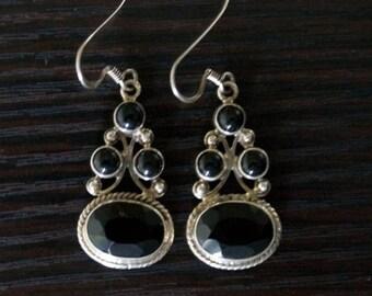 ON SALE Striking BLACK Onyx Silver Earrings
