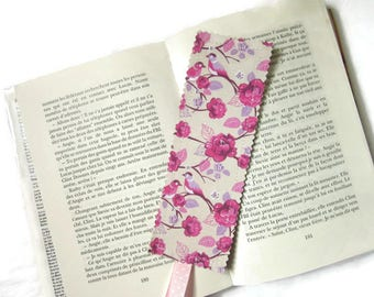 bookmarks, bookmark, fabric, flowers, birds, Pink Purple