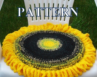 Sunflower chair seat cushion crochet pattern crochet sunflower cushion crochet pattern sunflower pattern crochet Olga Andrew Designs 043