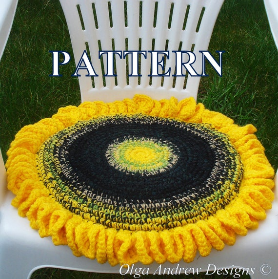 Sunflower chair seat cushion crochet pattern crochet sunflower cushion  sunflower crochet pattern sunflower pattern PDF OlgaAndrewDesigns043