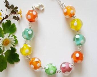 Bright Spotty Bracelet - Sterling Silver Bracelet - Gifts for Her - Lampwork Glass - Spotty Bracelet - Bracelet - UK - Jewelry - Polka Dots