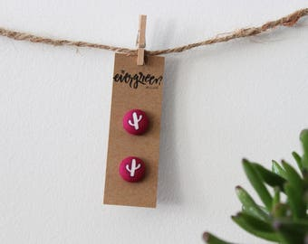 Magenta Cactus Button Earrings
