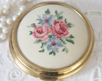 Vintage Compact Powder with Petit Point Embroidery, Powder Box with Mirror