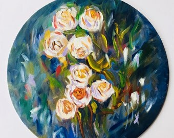 Wild Roses In Oil 12-Inch Diameter Round Canvas Board | Floral Gift | Nursery Painting | Decor Accent | Fresh Color | Emotional | Garden