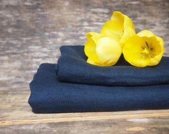 Set of Linen Dark Blue Bath Towels, Linen Towels, Linen Gift