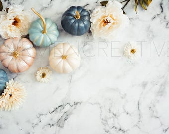 Pumpkin & Marble Styled Stock Photography / Product Background /  Etsy Cover Photo / Website Header and Banner