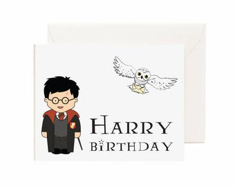 "Harry Potter & Hedwig ""Harry Birthday"" Greeting Card"