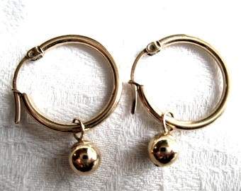 """14K Gold Hoop Earrings with Gold Ball Dangles & AB Crystal Dangles Hallmarked 14K, Trademark """"DC"""""""