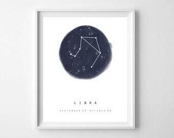 Libra Sign Print, Printable Art, Libra Zodiac, Watercolor Libra, Libra Art Print, Libra Gifts, Zodiac Art Print, Zodiac Sign, Astrology Art