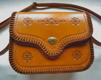 Handmade brown leather shoulder bag
