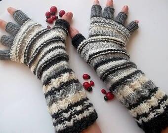 Men Size M 20% OFF Half Fingers OOAK Mittens Multicolor Hand Knitted Gloves Women Warm Accessories Unisex Wrist Warmers Winter Striped 1273