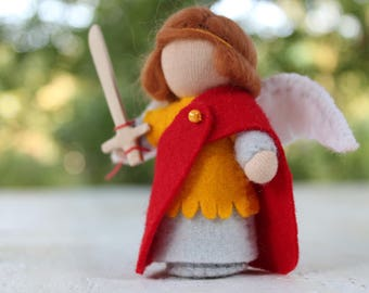 Saint Mihael// Saint Helga //St Michael// Gift From Tooth Fairy // Pocket Doll // Miniature Doll // Waldorf toy // Table Nature //