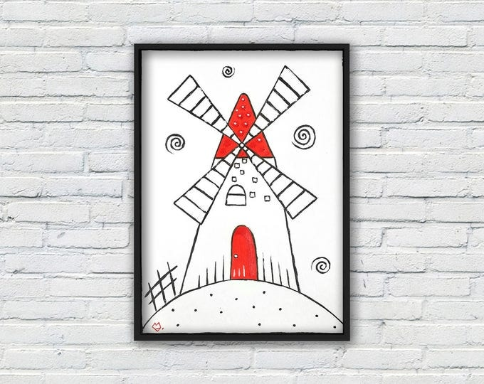 White and red windmill - graphic acrylic painting on paper