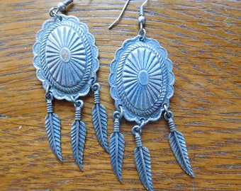 Vintage Southwestern Boho Chandelier Feather Earrings