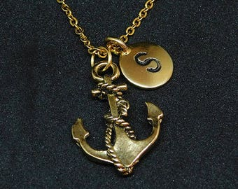 Golden Anchor with Initial necklace, initial charm, personalized jewelry, anchor necklace, anchor pendant, anchor charm